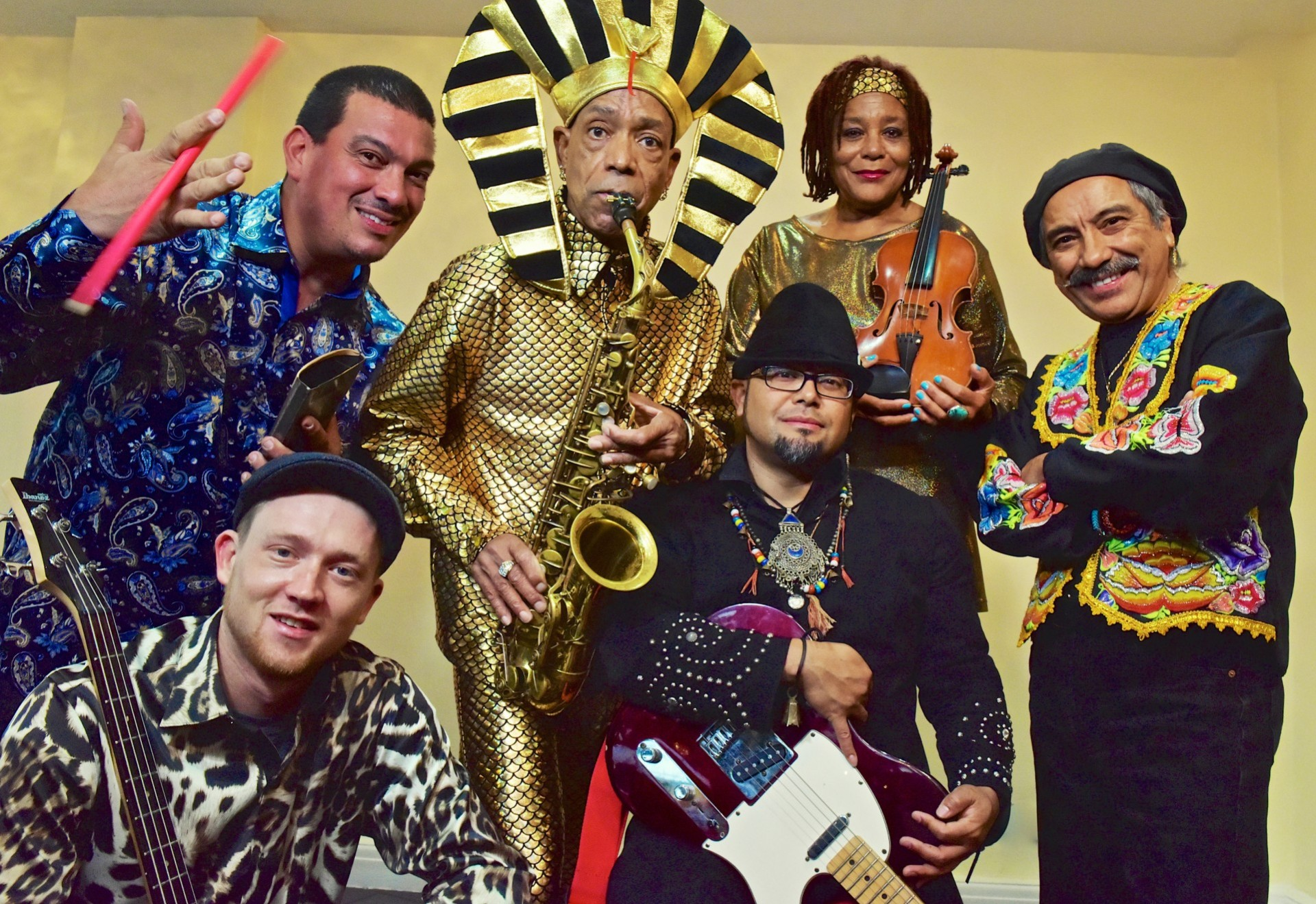 Idris Ackamoor and The Pyramids 2019 with support from Tony Bevan